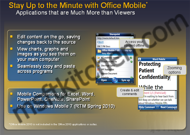 Windows Mobile 7 and Office Mobile 7
