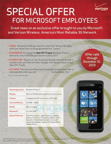 To Verizon from Microsoft WP7 with Love