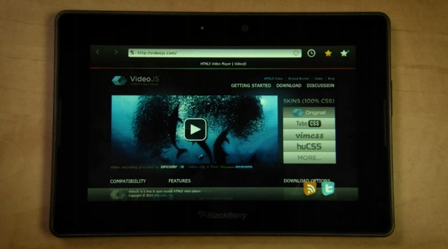 Video of RIM showing off Flash, HTML5 video capabilities on the BlackBerry PlayBook