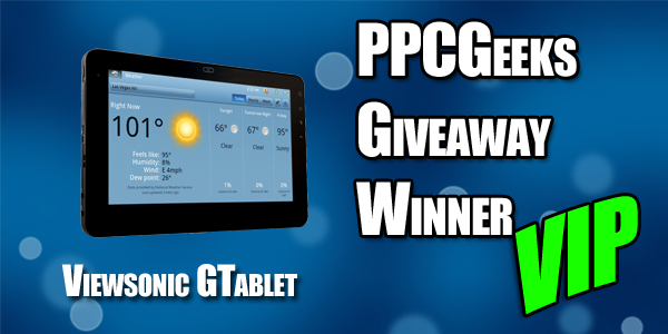 Congratulations to our V.I.P. Tablet Winner!