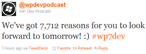 WP7 Devs to Get 7,712 To Look Forward To Tomorrow!