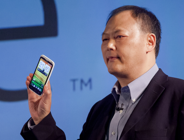 HTC Chief Executive Peter Chou holds the new HTC One X Android phone at Mobile World Congress in Barcelona, Spain. HTC hopes it'll have the same kind of brand affinity as the Nexus phones.